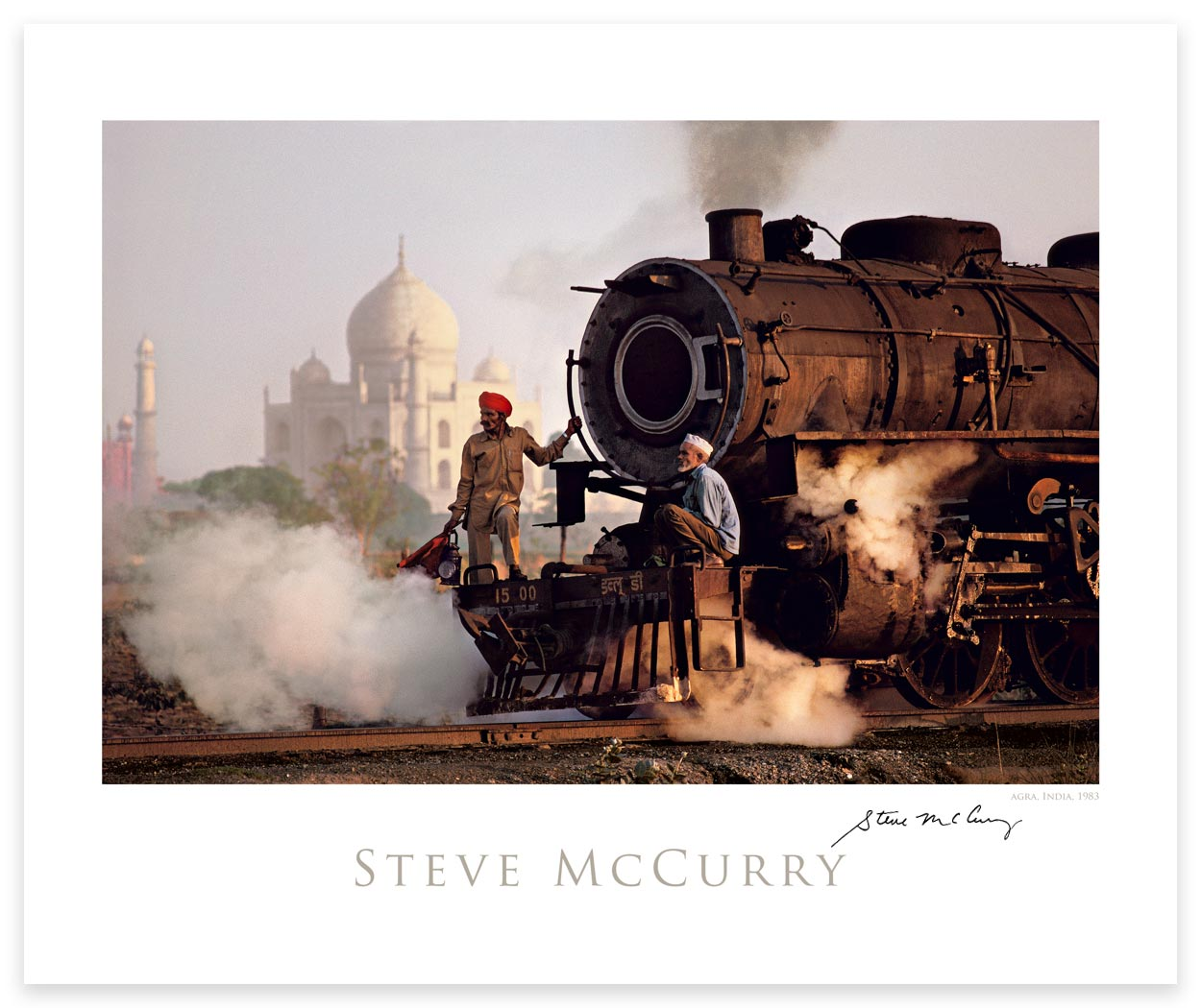 Signed Poster: Taj and Train by Steve McCurry